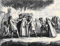 Nuns being forcibly removed from the convent of Port-Royal-des-Champs in 1709.
