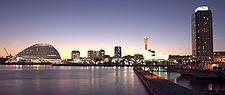 Port of Kobe at twilight.