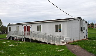Portable classroom - A portable classroom with wheelchair ramp at an elementary school in Washington County, Oregon, U.S.