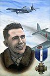 Portrait honoring U.S. Marine Corps Captain George C. Axtell, World War II Ace and Navy Cross winner.jpg