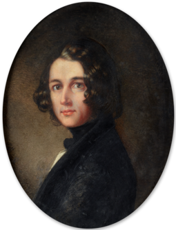 "Dickens portrait by Margaret Gillies, 1843. Painted during the period when he was writing A Christmas Carol, it was in the Royal Academy of Arts' 1844 summer exhibition. After viewing it there, Elizabeth Barrett Browning said that it showed Dickens with ""the dust and mud of humanity about him, notwithstanding those eagle eyes"". Portrait of Charles John Huffman Dickens.png"