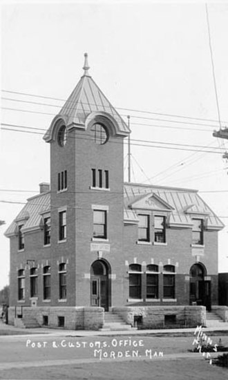 Morden, Manitoba - Post office circa 1914.
