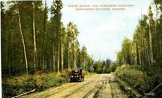 Ontario Highway 11 - 1927 postcard of the Ferguson Highway