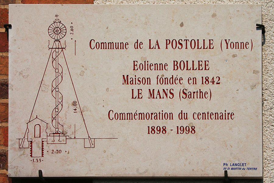 Plaque pour le centenaire de l'éolienne Bollée