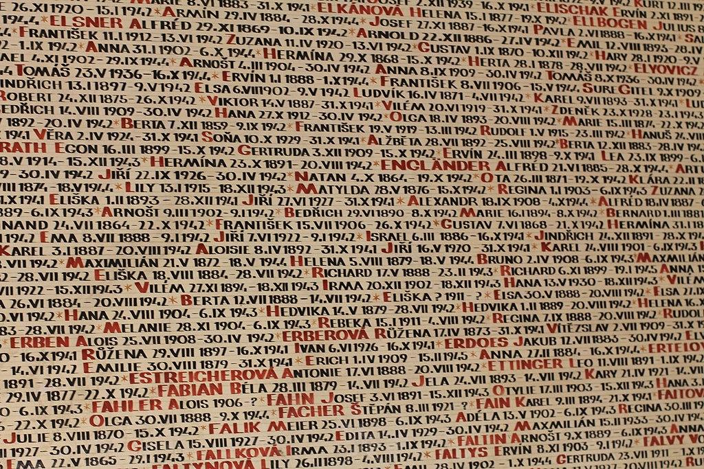Prague Praha 2014 Holmstad flott Navn på Holocaust-ofre på veggen til Pinkas-synagogen names for Holocaust victims at the wall of the Pinkas Synagogue 2