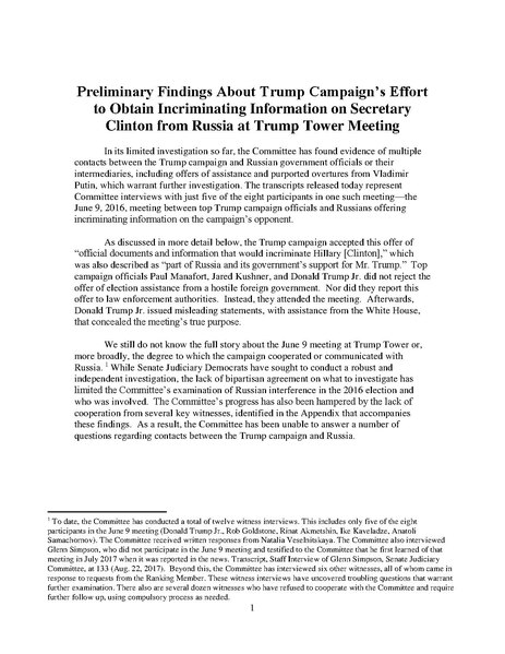 File:Preliminary Findings About Trump Campaign's Effort to Obtain Incriminating Information on Secretary Clinton from Russia at Trump Tower Meeting.pdf