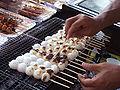 Preparing mitarashi dango Mino Gifu.JPG