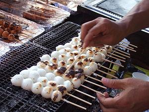 Dango - Yaki dango being prepared