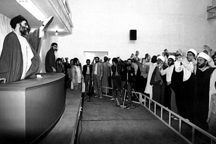 Ali Khamenei at the party's office in Qom, 1983 President Ali Khamenei meet Non-Iranian Hawza students - Office of the Islamic Republican Party in Qom.jpg