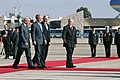 President George W. Bush is flanked by Israel's President Shimon Peres, left, and Prime Minister Ehud Olmert.jpg