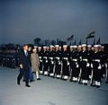 President John F. Kennedy and Prime Minister of India Jawaharlal Nehru During Arrival Ceremonies (color).jpg