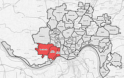 Price Hill (red) within Cincinnati, OH