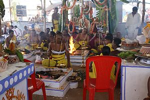 Vaikhanasas - Priests performing Yagnya as part of Kumbhaabhishekam at Gunjanarasimhaswamy Temple, T. Narasipur