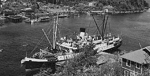 Princess Norah (steamship) at Bamfield, 1929.jpg