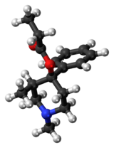 Ball-and-stick model of the prodine molecule
