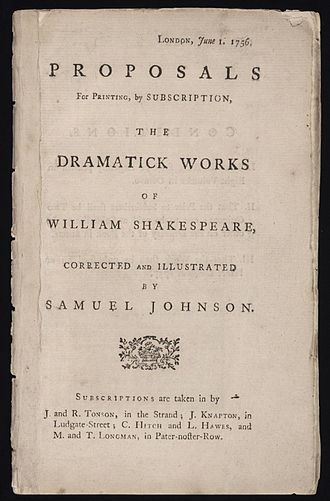 The Plays of William Shakespeare - Title page of Proposal first edition