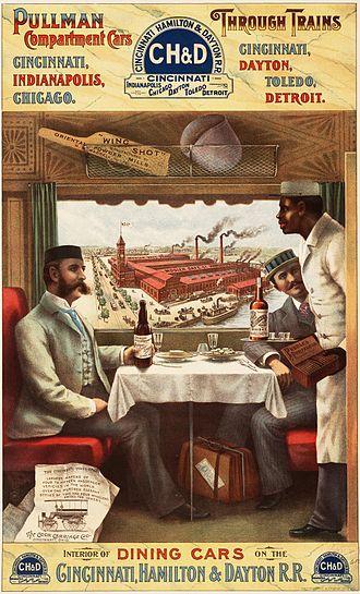 Cincinnati, Hamilton and Dayton Railway (1846–1917) - Interior of a Pullman dining car on the Cincinnati, Hamilton and Dayton Railway, 1894