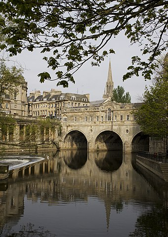 The 18th century Pulteney Bridge, designed by Robert Adam Pulteney Bridge, Bath 2.jpg