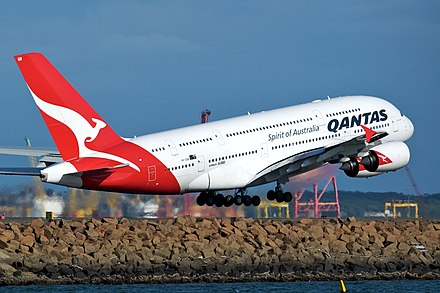 Qantas Airbus A380 taking off at Sydney Airport Qantas A380 VH-OQB Sydney.jpg