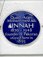Quaid i Azam Mohammed Ali JINNAH 1876-1948 founder of Pakistan stayed here in 1895.jpg