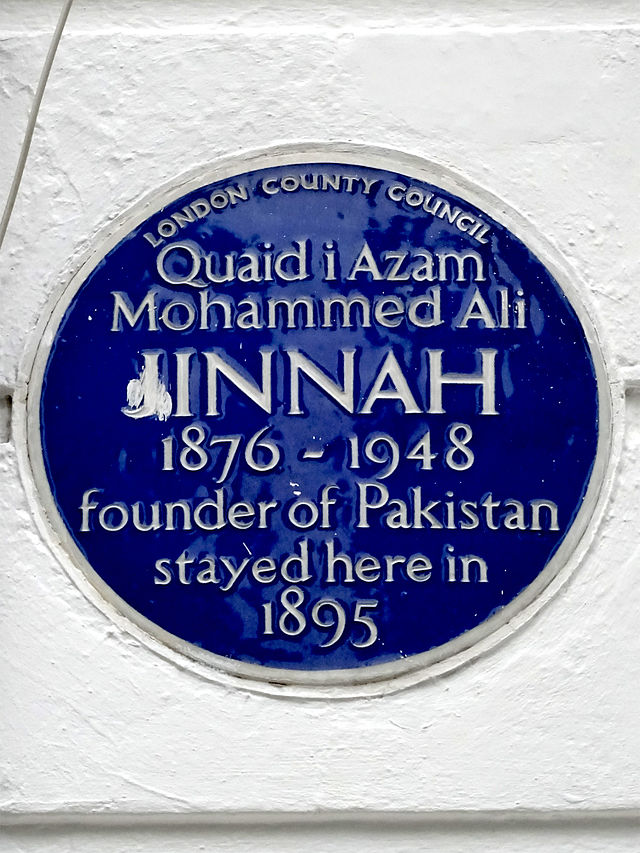 Mohammed Ali Jinnah blue plaque - Quaid i Azam  Mohammed Ali  Jinnah  1876-1948  founder of Pakistan  stayed here in  1895