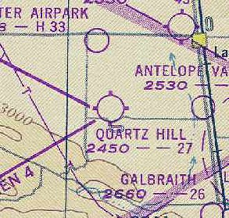 Quartz Hill Airport - A 1947 sectional chart showing Quartz Hill Airport.