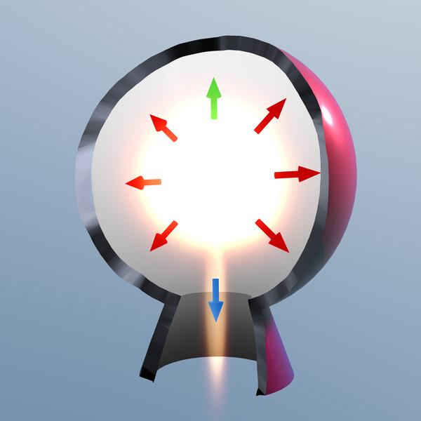 Schéma du principe d'action/réaction d'un moteur fusée