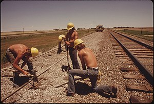 Manual labour - Rail track construction, Kansas, USA, 1974