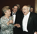 RIAN archive 28306 Naina Yeltsin and Mstislav Rostropovich at a party after the premiere of a new production of Modest Mussorgsky's opera..jpg