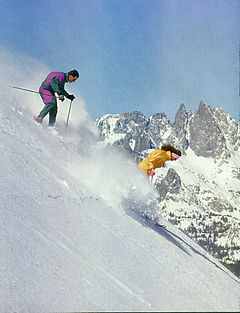Wipeout Chutes under Chair 23 after a fresh snow with The Minarets of Ritter Range in the background.