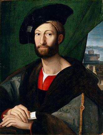 Baldassare Castiglione - Giuliano de' Medici, defender of women in Castiglione's Book of the Courtier, painted by Raphael.