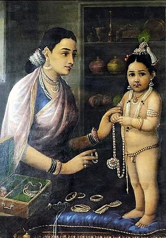 Bhagavata Purana - The Bhagavata includes numerous stories about Krishna's childhood playfulness and pranks – A painting by Raja Ravi Varma