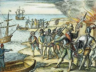 Raleigh's El Dorado Expedition - Sir Walter Raleigh's raid on the island of Trinidad in 1595. The captured Spanish Governor Antonio de Berrio is being escorted - engraving by Theodore de Bry