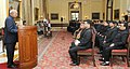 Ram Nath Kovind addressing the State Civil Service Officers, promoted to the IAS, 119th Induction Training Programme at the Lal Bahadur Shastri National Academy of Administration, Mussoorie, at Rashtrapati Bhavan.jpg