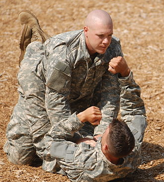 Guard (grappling) - Standard closed guard, demonstrated by US Army Rangers.