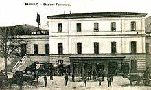 La stazione ferroviaria in una foto d'epoca del 1907
