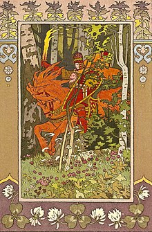 Illustration Of The Russian Fairy Tale About Vasilisa Beautiful Showing A Rider On