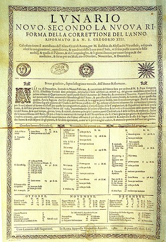 Adoption of the Gregorian calendar - Image: Reforma Gregoriana del Calendario Juliano