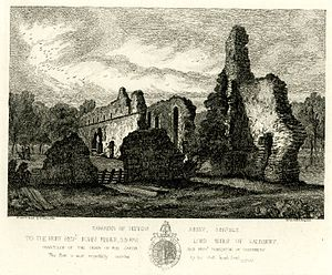 Sibton Abbey - Remains of Sibton Abbey, etching by Henry Davy, 1827.