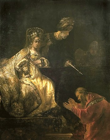 Haman Begging the Mercy of Esther, by Rembrandt