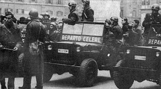 Mario Scelba - The Reparto Celere, a special jeep-riding riot squad of the Italian police.