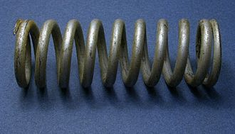 Spring (device) - A heavy-duty helical spring designed for compression and tension.