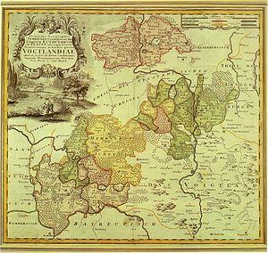 Imperial County of Reuss - The Reuss territories in the 18th century.   Green: Reuss elder line (Greiz, Burgk)  Red: Reuss-Gera (with Saalburg)  Yellow: Reuss-Schleiz  Brown: Reuss-Lobenstein