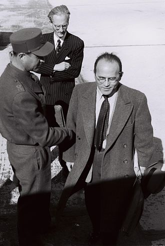 Reuven Shiloah - Shiloah on his way to Rhodes for talks on 1949 Armistice Agreements