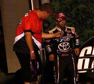 Rico Abreu - Abreu (right) being interviewed at Angell Park Speedway in 2013