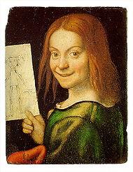 Ritratto di fanciullo con disegno Giovanni Francesco Caroto.jpg