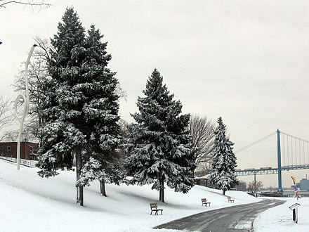 Winters in Windsor are cold with frequent snowfall. Riverfrontwalk windsor.jpg