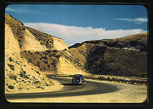 Emmett, Idaho - Road cut into the barren hills leading into Emmett, 1941
