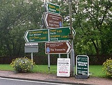 Road signs in Crianlarich