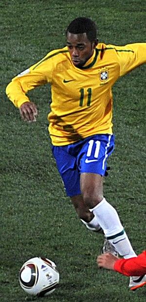 Adidas Jabulani - Robinho dribbling an Adidas Jabulani ball at the 2010 World Cup